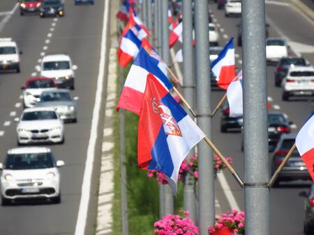 Belgrade, Serbia - July 15 2019. Highway E-75, decorated with Serbian and French flags due to today official visit of Emmanuel Macron, president of France. 新聞圖片