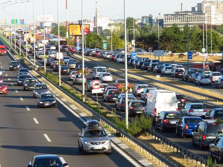 Belgrade, Serbia, September 13, 2019. Traffic jam at rush hour on highway E-75.