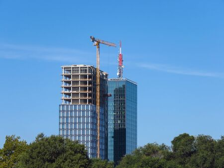 Belgrade, Serbia, September 27, 2019. Skyscraper construction site. Finishing of the second tower USCE 2.