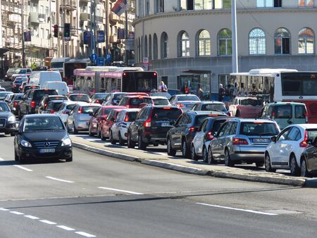 Belgrade, Serbia, October 1, 2019. Traffic jam at rush hour in downtown.