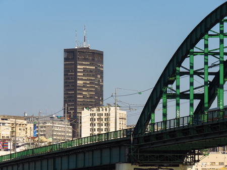 Belgrade Palace, a modern high-rise building in the Belgrade downtown area.                         It is 101 m (331 ft) tall. Construction started in 1969, completed 1974.