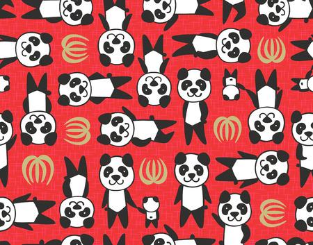panda leaf seamless pattern  Vector