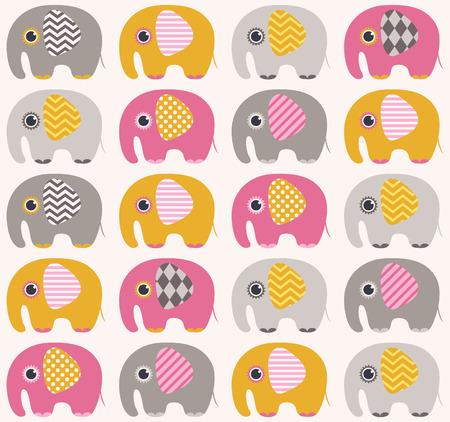 seamless elephant cartoon pattern  Ilustração