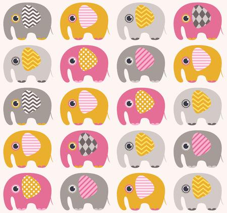 seamless elephant cartoon pattern  Illustration