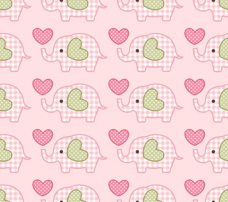 seamless elephant cartoon pattern  Vector