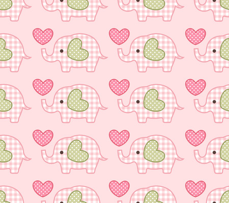 sweet baby girl: seamless elephant cartoon pattern  Illustration