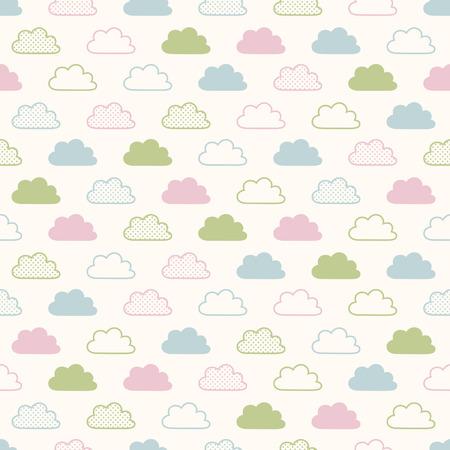 원활한 구름 배경 무늬 일러스트