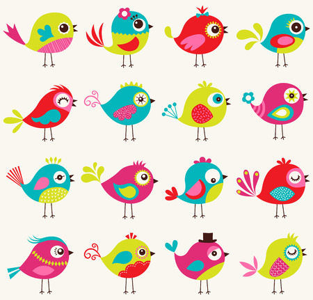 whimsical: seamless birds pattern