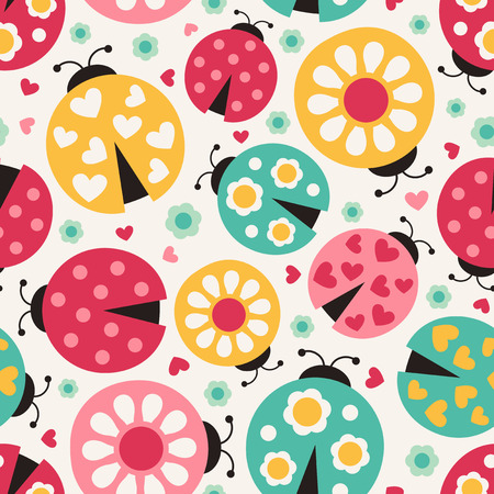 seamless ladybug background  Vector