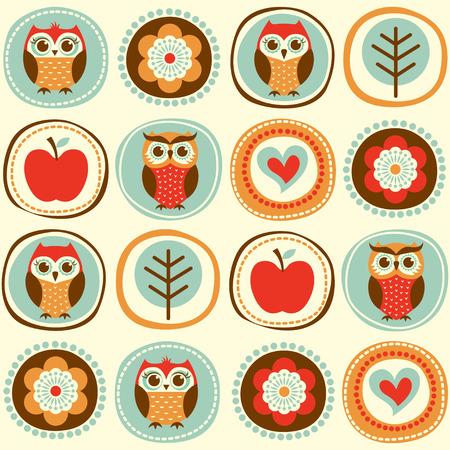 owl family: seamless owls cartoon wallpaper