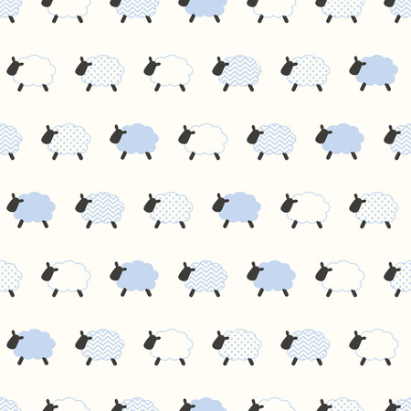 シームレスな羊のパターン  イラスト・ベクター素材