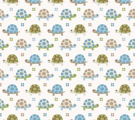 seamless turtle cartoon pattern  Ilustração