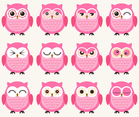 baby facial expressions: seamless owls pattern