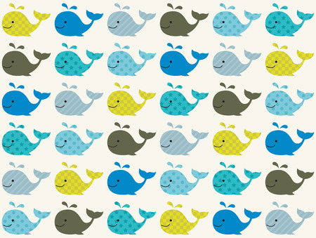 cartoon whale: seamless whale pattern