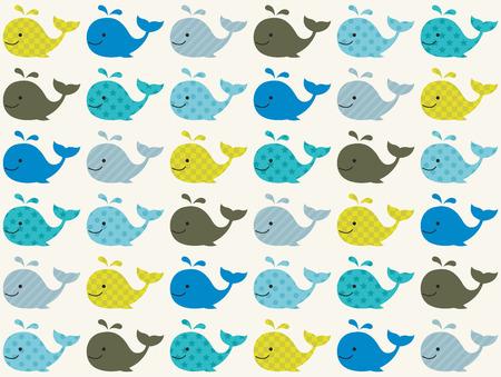 wzorek: wieloryb wzór bez szwu Ilustracja