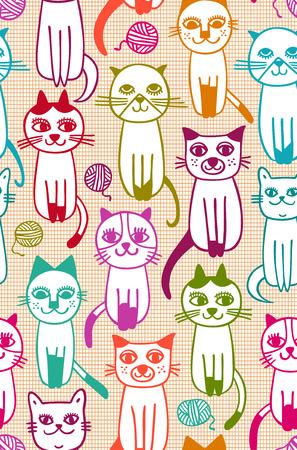 gomitoli di lana: pattern di gatto senza saldatura