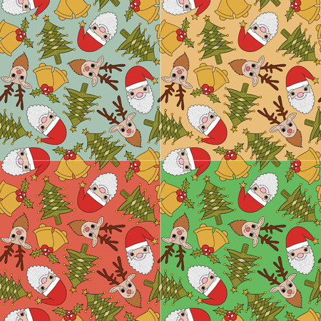 christmas x mas: christmas seamless pattern - 4 colors in 1 set  Illustration