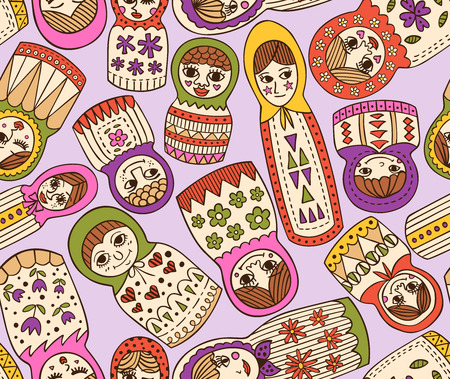 russian doll seamless pattern  Vector