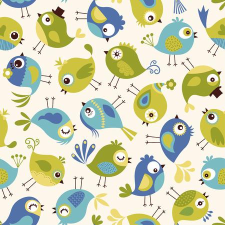 aves caricatura: patrón de las aves sin fisuras