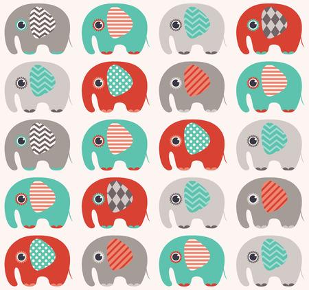 seamless elephant cartoon pattern  Illusztráció