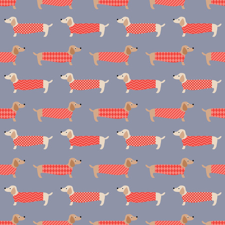 seamless dachshund dogs pattern  Vector