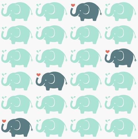シームレスな象の漫画パターン