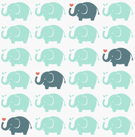 seamless elephant cartoon pattern  Illustration