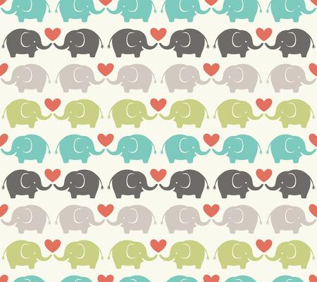siluetas de elefantes: Modelo inconsútil de la historieta del elefante