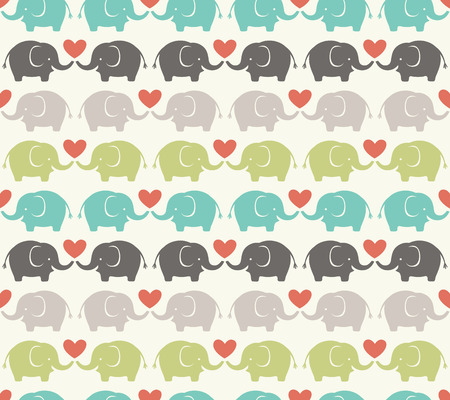 woods: seamless elephant cartoon pattern  Illustration