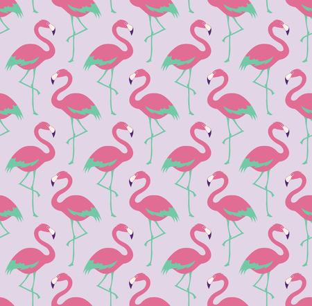 シームレスなフラミンゴ鳥パターン  イラスト・ベクター素材
