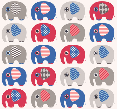 baby with mama: seamless elephant cartoon pattern  Illustration
