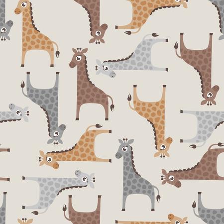 naadloze giraffe cartoon patroon Stock Illustratie