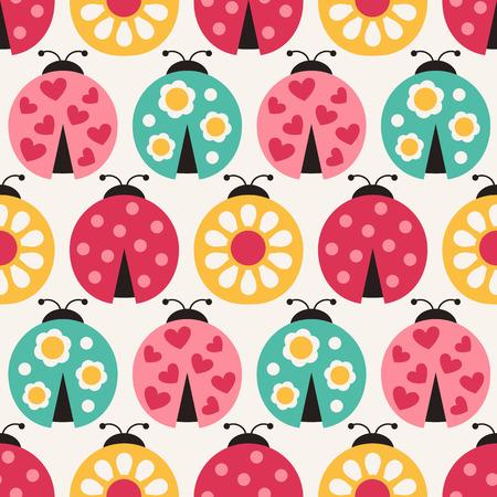 love wallpaper: seamless ladybird cartoon pattern  Illustration