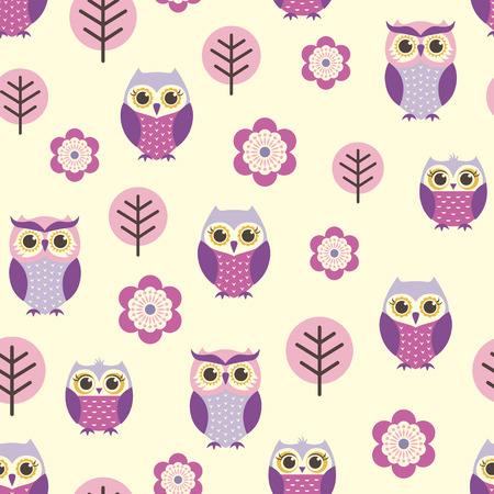seamless owl cartoon pattern  Vector