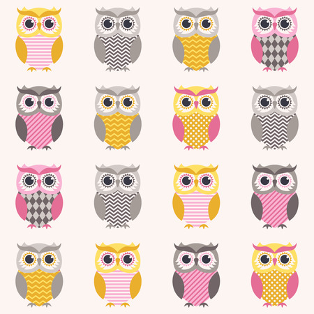 cartoon owl: seamless owl cartoon pattern