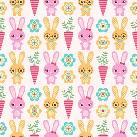 シームレスなウサギ パターン壁紙  イラスト・ベクター素材