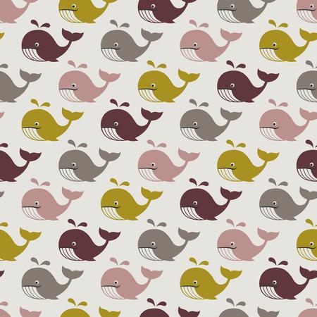 repeats: seamless whales cartoon pattern