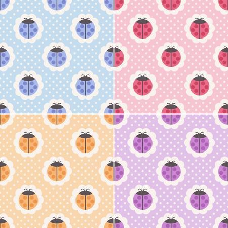 naadloze lieveheersbeestje achtergrond Stock Illustratie