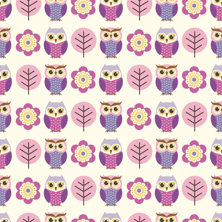 seamless owls and flowers pattern  Vector