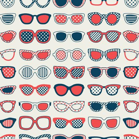 navy blue background: seamless fashion sunglasses pattern