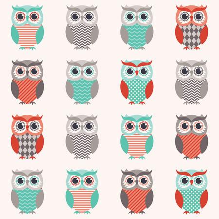 seamless owls cartoon background  Illusztráció