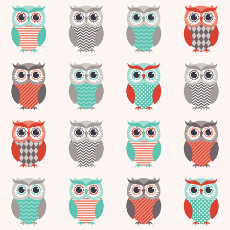 seamless owls cartoon background  Ilustrace