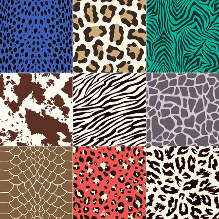 repeated animal skins print set Vectores