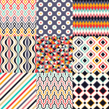 원활한 복고풍 기하학적 인 패턴 일러스트