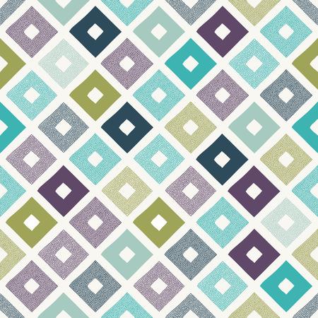 seamless geometric rhombus dots doodle pattern Stock Illustratie