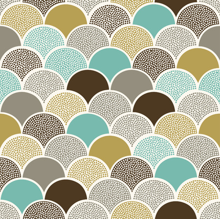 seamless doodle dots scallop pattern