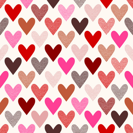 seamless heart doodle dots pattern Vectores