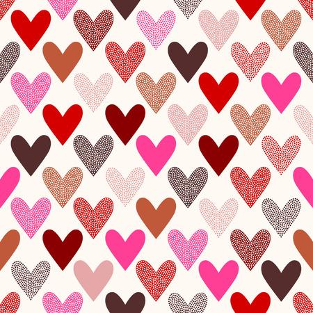 seamless heart doodle dots pattern Çizim