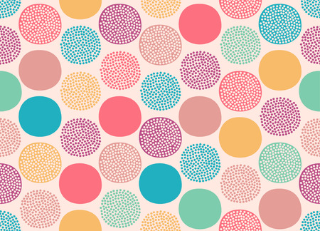 pastel color: seamless cute doodle dots pattern