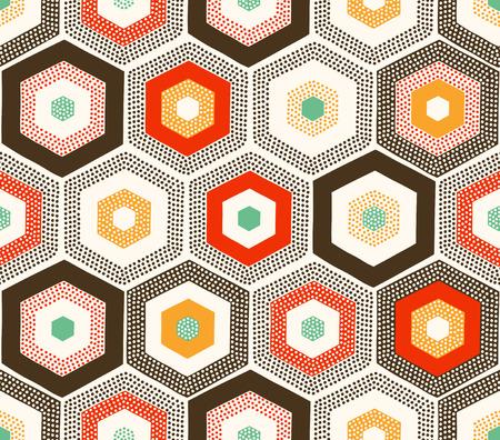 seamless hexagonal dots doodle pattern